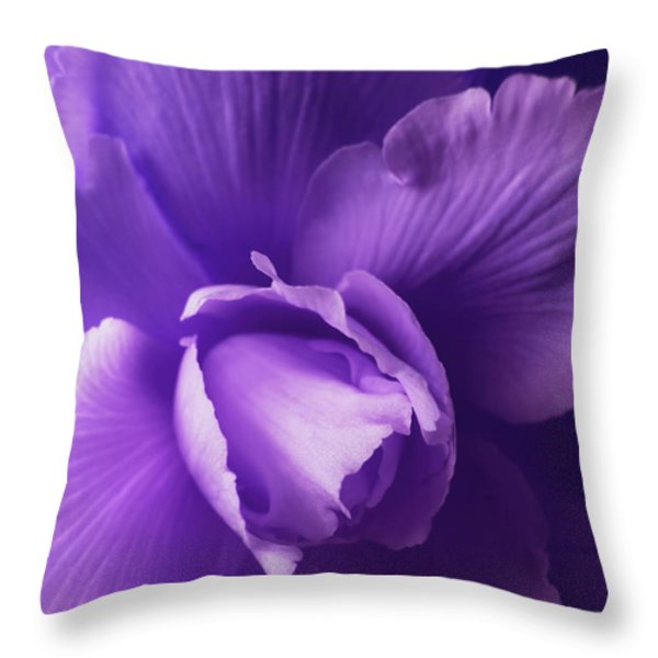 Purple Begonia Flower Throw Pillow by Jennie Marie Schell