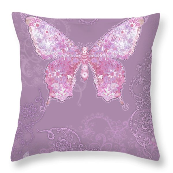 Purple Butterfly Floral Throw Pillow by Alixandra Mullins
