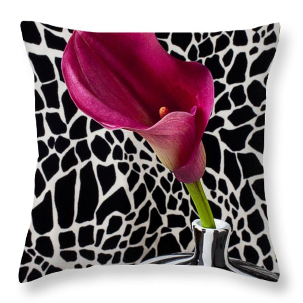 Purple Calla Lily Throw Pillow by Garry Gay