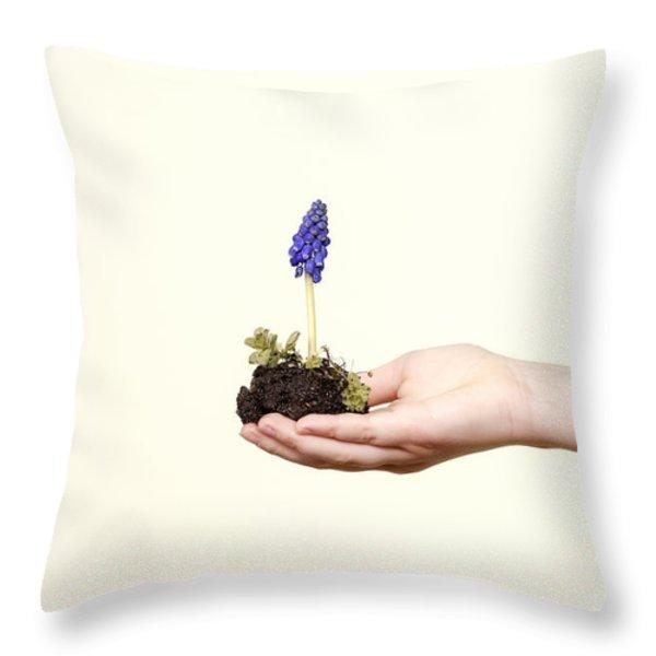 Purple Flower Throw Pillow by Joana Kruse