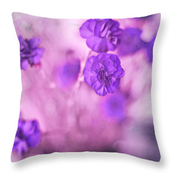 Purple Flowers Throw Pillow by Marisa Horn