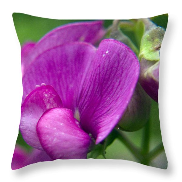 Purple Garden Flower Throw Pillow by Darleen Stry