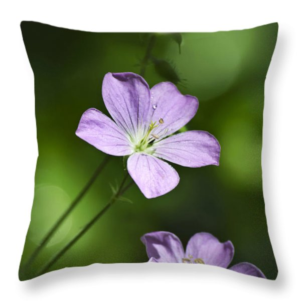 Purple Geranium Flowers Throw Pillow by Christina Rollo