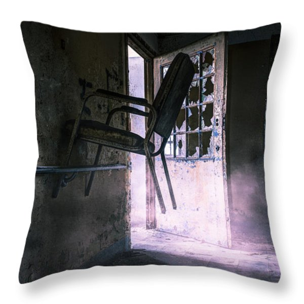 Purple Haze - Strange scene in an abandoned psychiatric facility Throw Pillow by Gary Heller