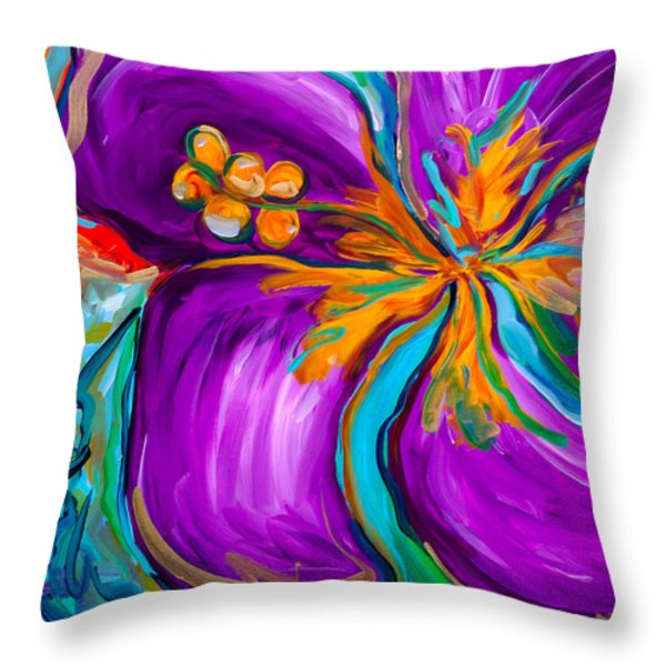 Purple Hibiscus Throw Pillow by Beth Cooper