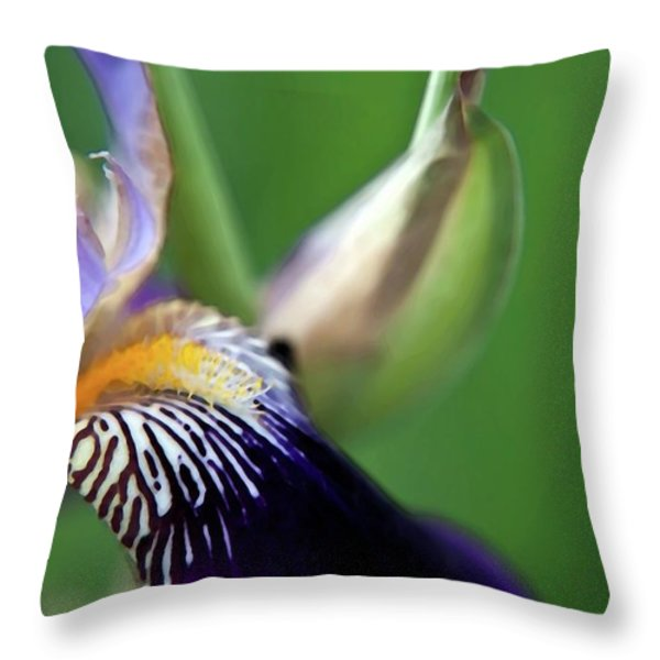 Purple Iris 2 Throw Pillow by Theresa Tahara