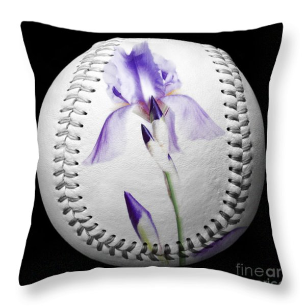 Purple Iris High Key Baseball Square Throw Pillow by Andee Design