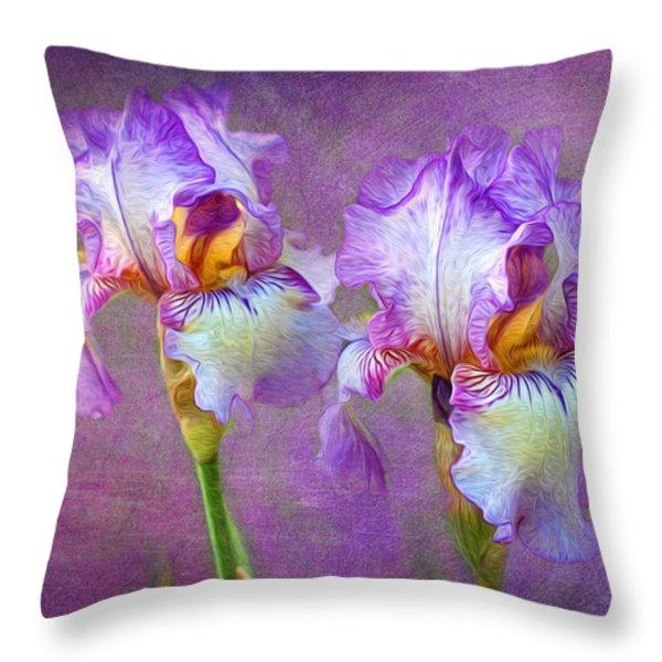 Purple Iris Throw Pillow by Lena Auxier