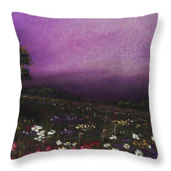 Purple Meadow Throw Pillow by Anastasiya Malakhova