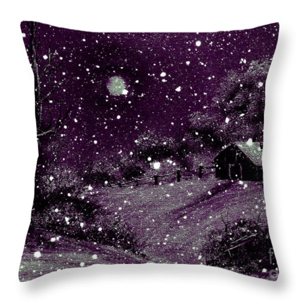 Purple Night Full Moon Throw Pillow by Barbara Griffin