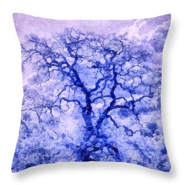 Purple Oak Tree Dream  Throw Pillow by Priya Ghose