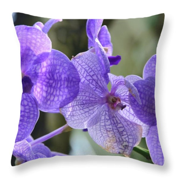 Purple Orchids Throw Pillow by Kathleen Struckle