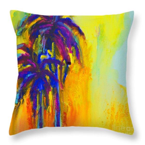 Purple Palm Trees Sunset Throw Pillow by Patricia Awapara