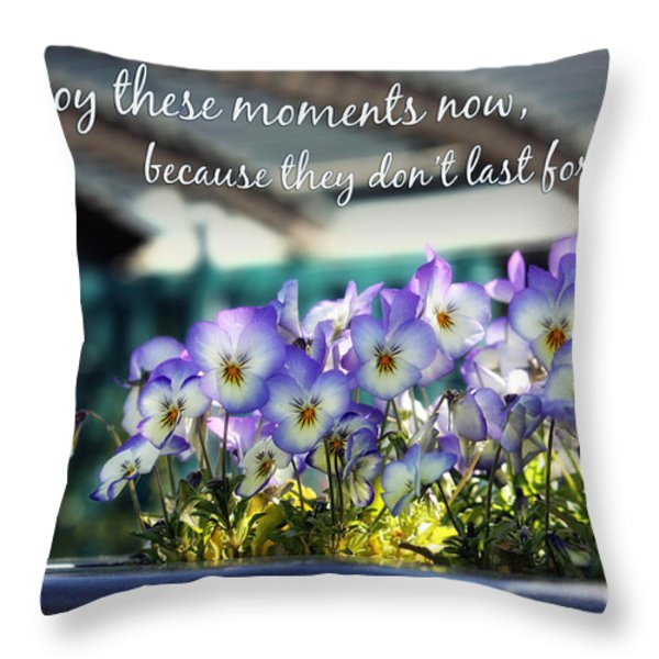 Purple Pansies and Life Quote Throw Pillow by Nishanth Gopinathan