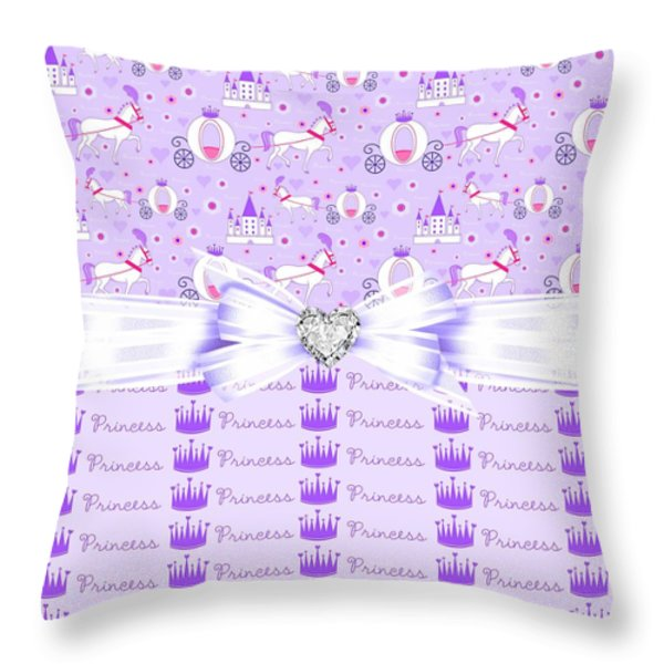 Purple Passion Princess Throw Pillow by Debra  Miller