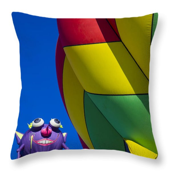 Purple people eater smiling Throw Pillow by Garry Gay
