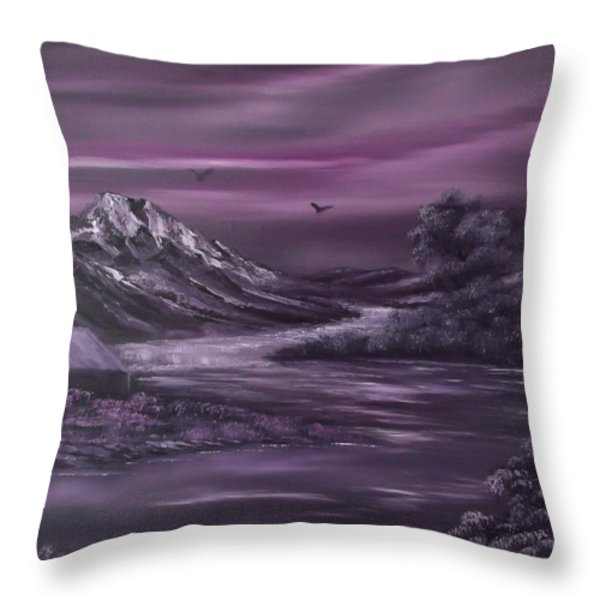 Purple Rain 2 Throw Pillow by Cynthia Adams