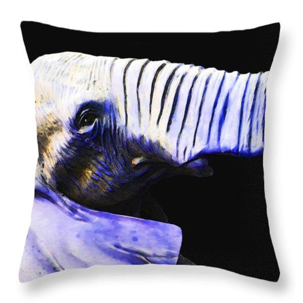 Purple Rein - Vibrant Elephant Head Shot Art Throw Pillow by Sharon Cummings