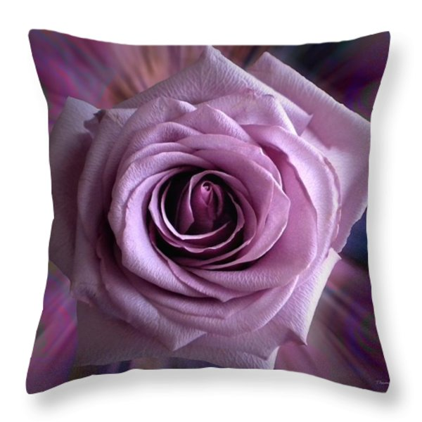 Purple Rose Throw Pillow by Thomas Woolworth