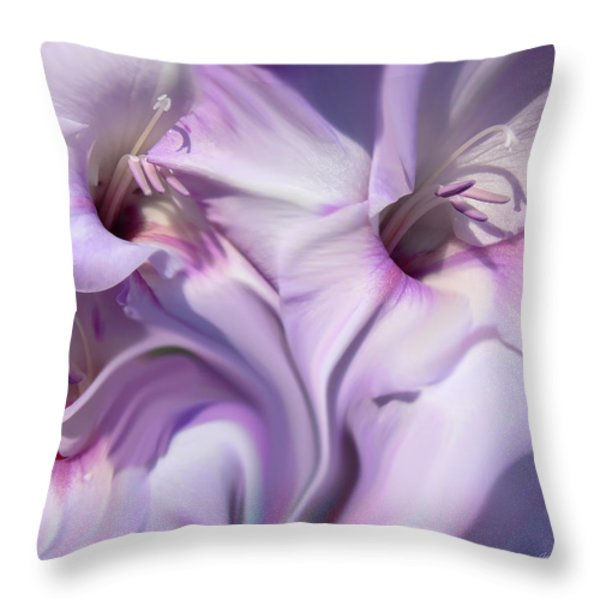 Purple Swirl Abstract Gladiolas  Throw Pillow by Jennie Marie Schell