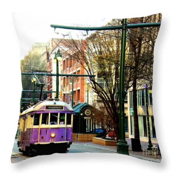 Purple Trolley Throw Pillow by Barbara Chichester