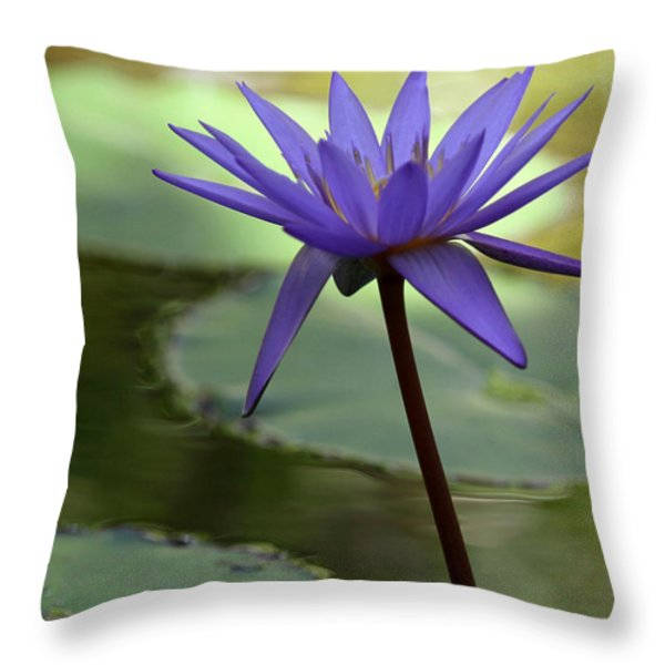 Purple Water Lily In The Shade Throw Pillow by Sabrina L Ryan