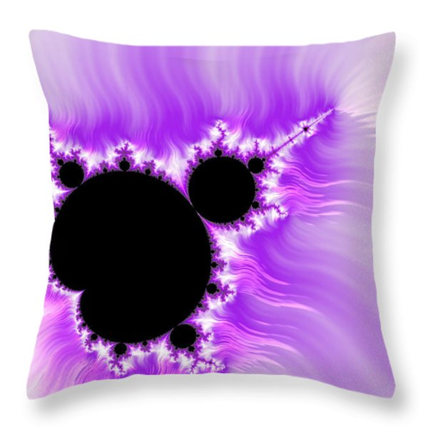 Purple white and black mandelbrot set digital art Throw Pillow by Matthias Hauser