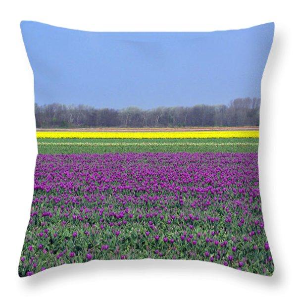 Purple With Golden Lining. Fields Of Tulips Series Throw Pillow by Ausra Paulauskaite