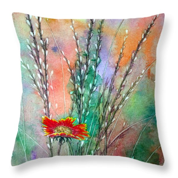 Pussy Willows Throw Pillow by Joey Nash