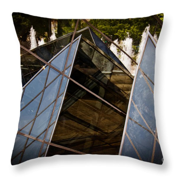 Pyramids Reflected Throw Pillow by Tom Gari Gallery-Three-Photography