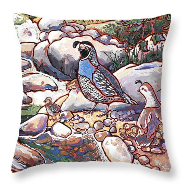 Quail Family Throw Pillow by Nadi Spencer