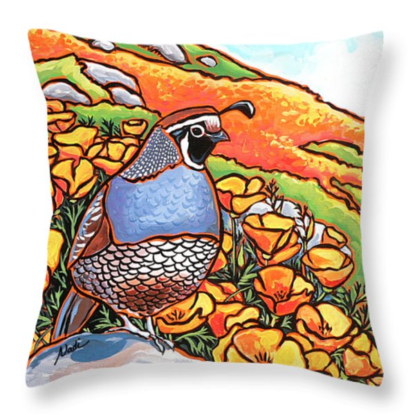 Quail Poppies Throw Pillow by Nadi Spencer