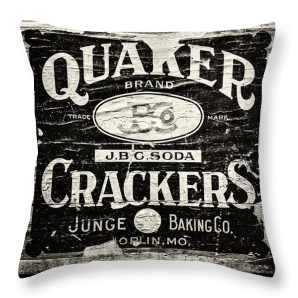 Quaker Crackers Rustic Sign for Kitchen in Black and White Throw Pillow by Lisa Russo