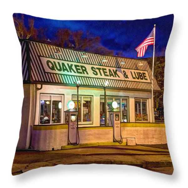 Quaker Steak And Lube Throw Pillow by Skip Tribby