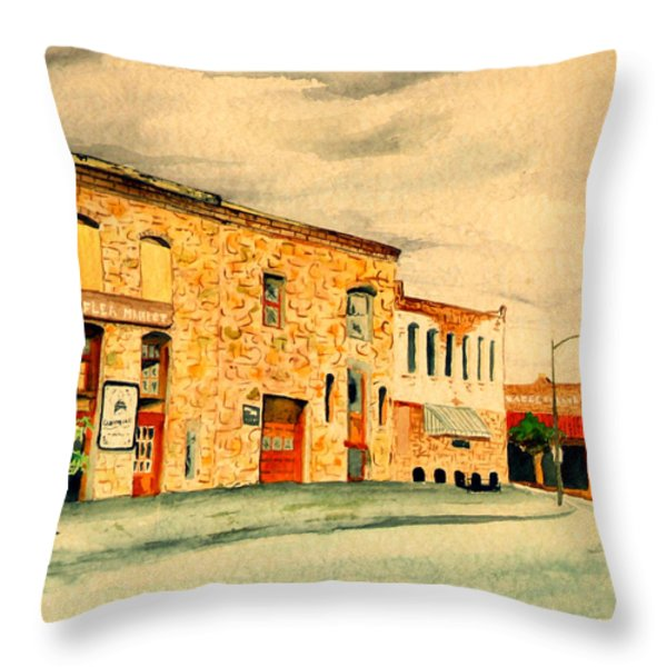 Quantrill's Flea Market - Lawrence Kansas Throw Pillow by Mary Ellen Anderson