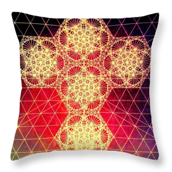 Quantum Cross Hand Drawn Throw Pillow by Jason Padgett