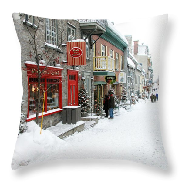 Quebec City In Winter Throw Pillow by Thomas R Fletcher