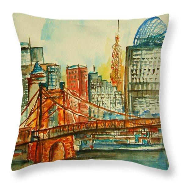 Queen City Skyline Cincinnati Oh Throw Pillow by Elaine Duras