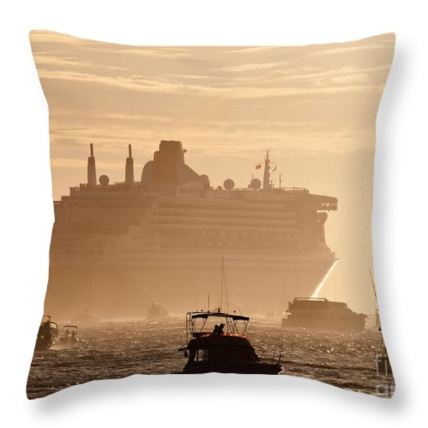 Queen Mary 2 Leaving Port 02 Throw Pillow by Rick Piper Photography