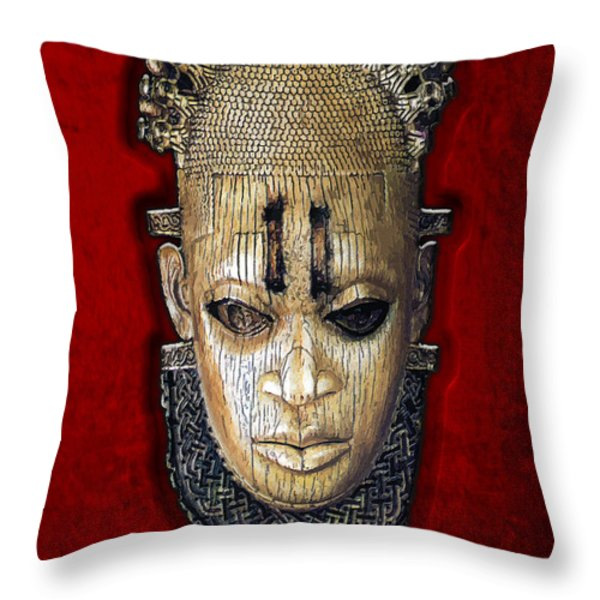 Queen Mother Idia - Ivory Hip Pendant Mask - Nigeria - Edo Peoples - Court of Benin on Red Velvet Throw Pillow by Serge Averbukh
