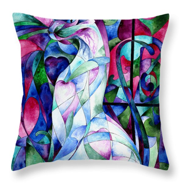 Queen Of Hearts Throw Pillow by Sherry Shipley