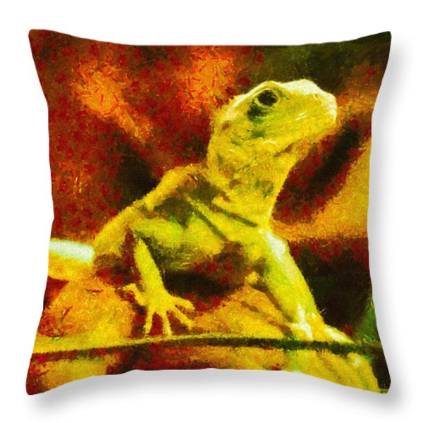 Queen of the Reptiles Throw Pillow by Ayse Deniz