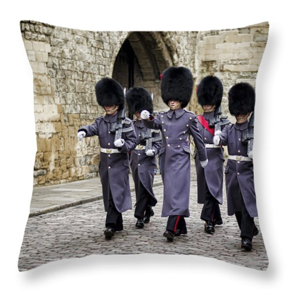 Queens Guard Throw Pillow by Heather Applegate