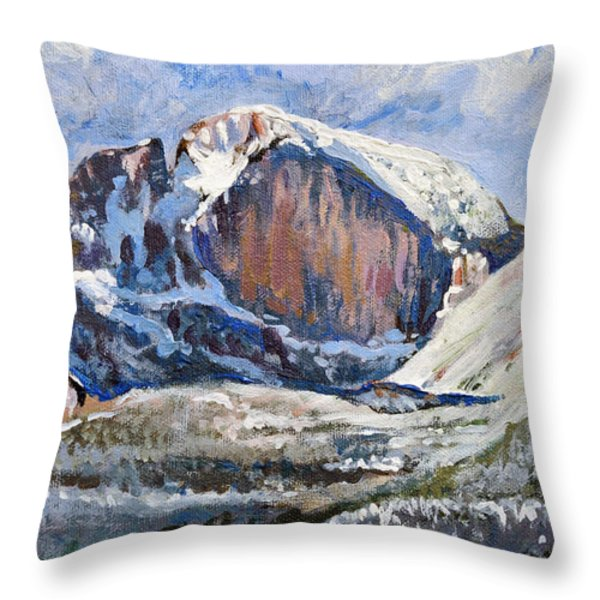 Quick Sketch - Longs Peak Throw Pillow by Aaron Spong