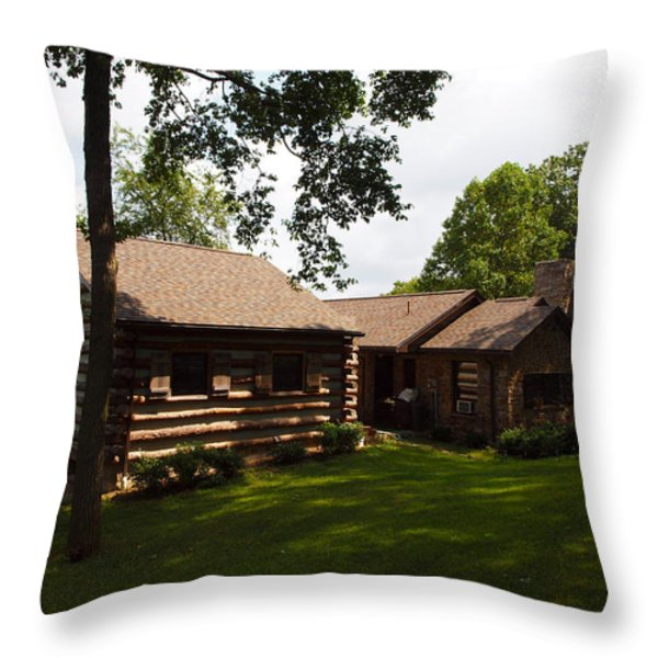 Quiet Cabin On A Hill Throw Pillow by Robert Margetts