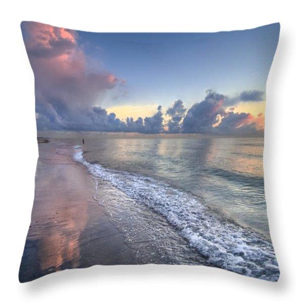 Quiet Morning Throw Pillow by Debra and Dave Vanderlaan