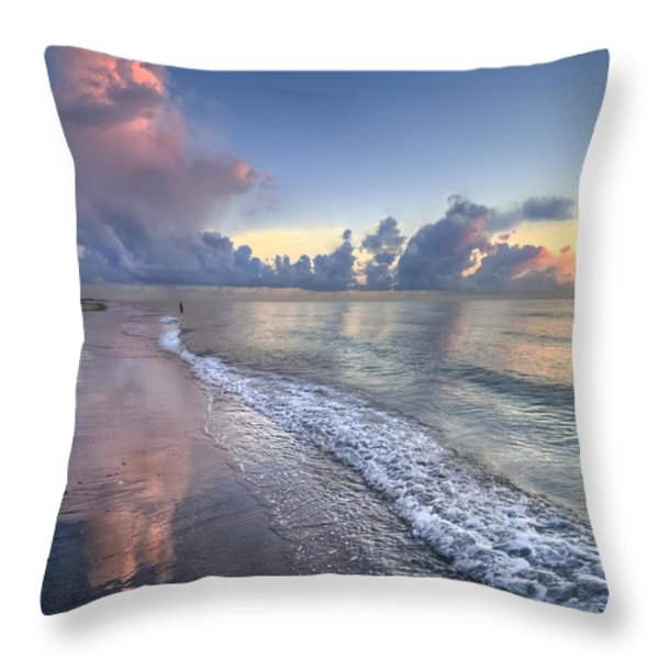 Quiet Morning Throw Pillow by Debra and Dave Vanderlaan