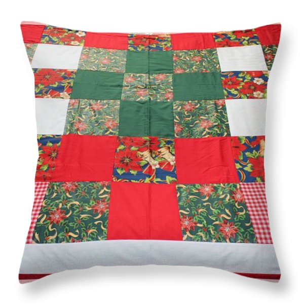 Quilt Christmas Blocks Throw Pillow by Barbara Griffin