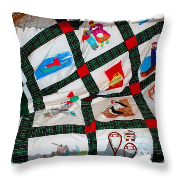 Quilt Newfoundland Tartan Red Posts Throw Pillow by Barbara Griffin