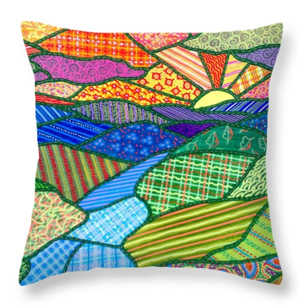 Quilted Appalachian Sunset Throw Pillow by Jim Harris